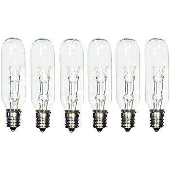 (Pack of 6) 15T6 15 Watt Tubular Light Bulb Candelabra E12 Base Clear Bulb