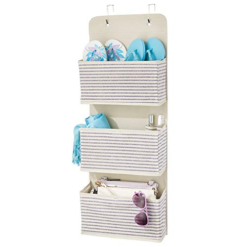 mDesign Soft Fabric Over The Door Hanging Storage Organizer with 3 Large Pockets for Closets in Bedrooms, Hallway, Entryway, Mudroom - Hooks Included - Stripe Print - Natural/Cobalt Blue