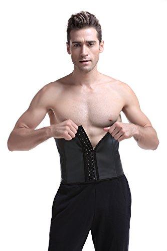 Coco Blue Men's Corset Tummy Control Steel Boned Waist Trainer Workout Sport Shapewear (L, Black)