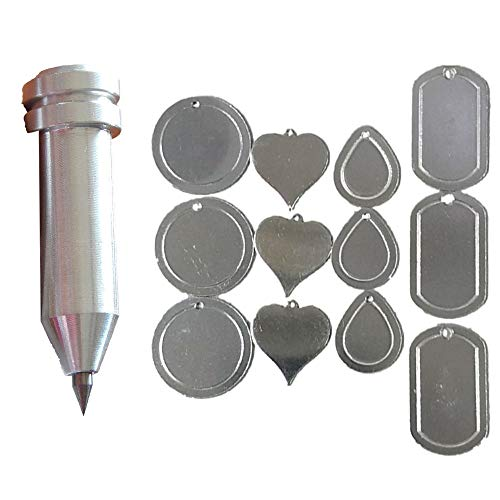 (Precision Engraving Tool for The Cricut Maker and Explore by Chomas Creations and 12 Stamping Blanks (13 Pieces) (Set 1))