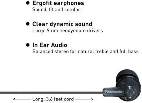 Panasonic ErgoFit In-Ear Earbud Headphones RP-HJE120K Dynamic Crystal-Clear Sound, Ergonomic Comfort-Fit, 9mm, Black