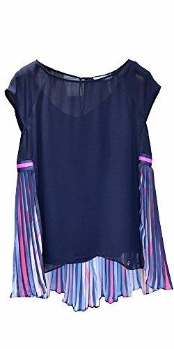 Blusa navy plissettata