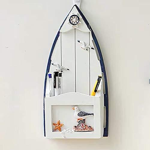 (Lemonadeus Nautical Theme Decorative Rustic Style Sailboat Wall Mounted Mail Sorter Box Organizer Rack (Sailboat(sea Gull Decor)))