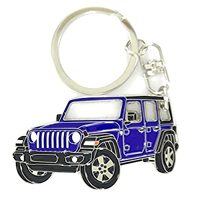 Wrangler Unlimited 4 Doors Key Chain for car Accessories. Chrome Metal tag, Enamel. Replica. (Blue): Office Products