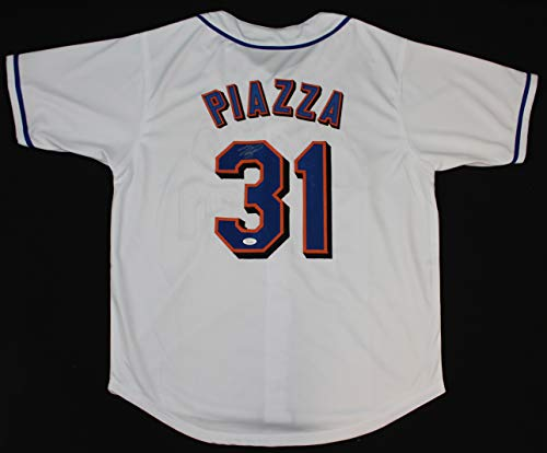 Mike Piazza Autographed White New York Mets Jersey - Hand Signed By Mike Piazza and Certified Authentic by JSA - Includes Certificate of Authenticity ()