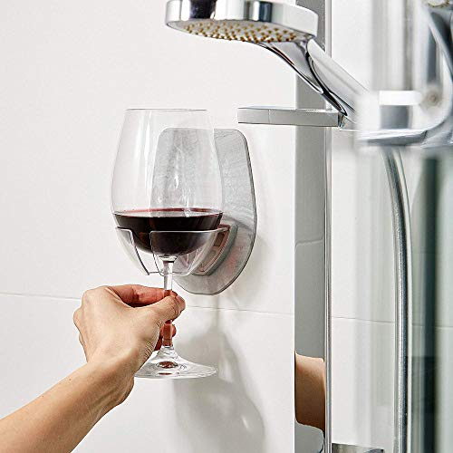 Bath & Shower Portable Wine Glass Holder GoodLock Watt Plastic Cupholder Caddy for Wine Drink Holder, Best Gift (Gray)
