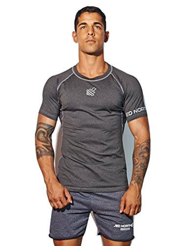 c97b2e393007 Men's Short Sleeve Tee Compression T Shirt Bodybuilding Workout Slim Fit,  Large, Black