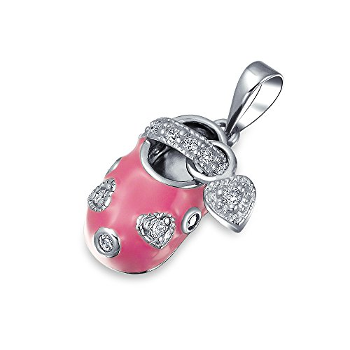 Bling Jewelry CZ Heart Pink Enamel Baby Shoe Charm Pendant 925 Silver - Pink Enamel Shoe Charm