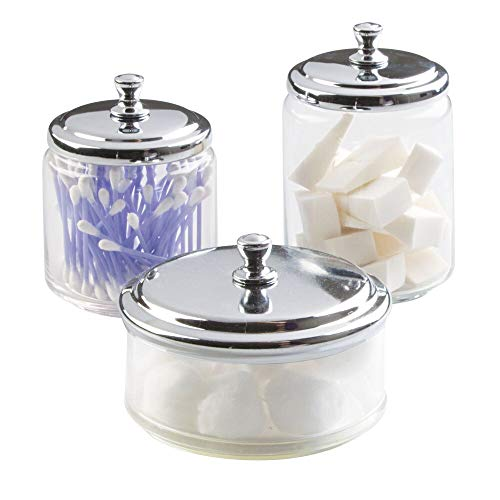 mDesign Glass Bathroom Vanity Apothecary Storage Organizer Canister Jar for Cotton Balls, Swabs, Makeup Sponges, Bath Salts, Hair Ties, Jewelry - Set of 3, Varied Sizes - Clear/Chrome ()