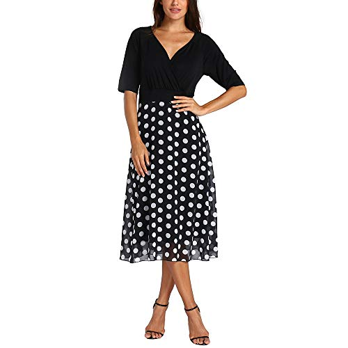ANJUNIE Women Plus Size V-Neck Dot Mid Length Dress Evening Party Boho Beach Dress(Black,3XL)