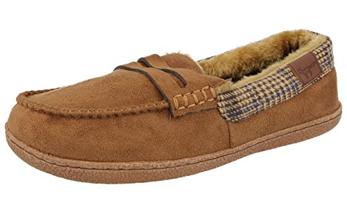 Jo & Joe Mens Faux Suede Luxury Fleecy Lined Slip On Tweed Moccasin Slippers Shoes Size 8-12 Cognac 8KqP7A