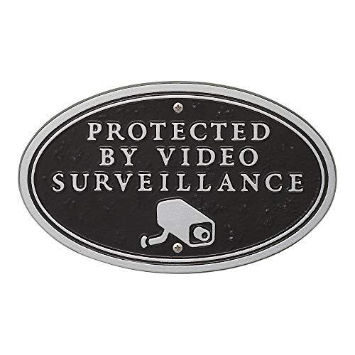 (Exterior Accents Surveillance Camera Oval Statement Plaque (Wall OR Lawn Mount) Aluminum - 5.8