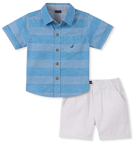 Nautica Sets (KHQ) Boys' Toddler 2 Pieces Shirt Shorts Set, Blue Stripes - Up Dress Little Boy Clothes