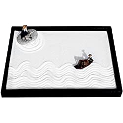 Zen Garden Fisher Men Set with Free Rake Sand Pushing Pen and Bamboo Drawing Pen Base Tray Dimensions 10 x 7 x 0.4 inches