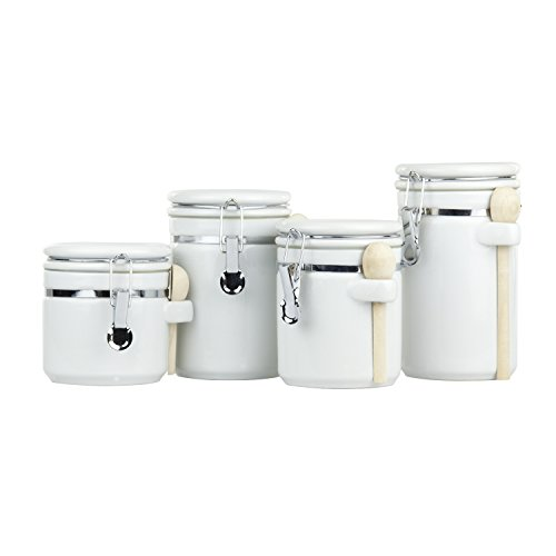 Home Basics CS44154 4 Piece Ceramic Canister Set with Spoon, - Canister Set White