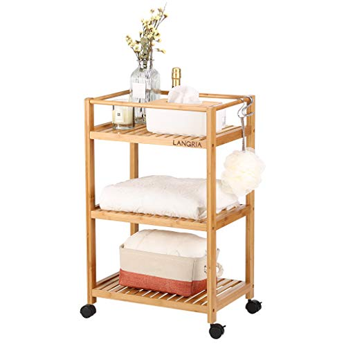 LANGRIA Bamboo All-Purpose 3 Tier Rolling Cart with Removable Hooks and Lockable Wheels for Home Office Organization Kitchen Bathroom Storage Cart (Load 11 lbs. Per Shelf, Nature Burly Wood Color)