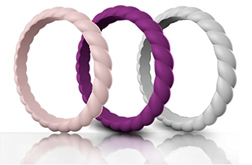 Made for Her Silicone Wedding Ring for Women, Stackable & Thin Rubber Band in Fine Color Combination for Pregnant, Sports & Active Women's - Life Time Warranty Set of 1-3-7-10