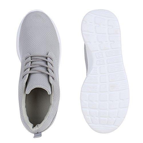 Stiefelparadies Herren Sportschuhe Muster Laufschuhe Übergrößen Sneakers Profilsohle Blumen Runners Flandell Hellgrau Grey Arriate