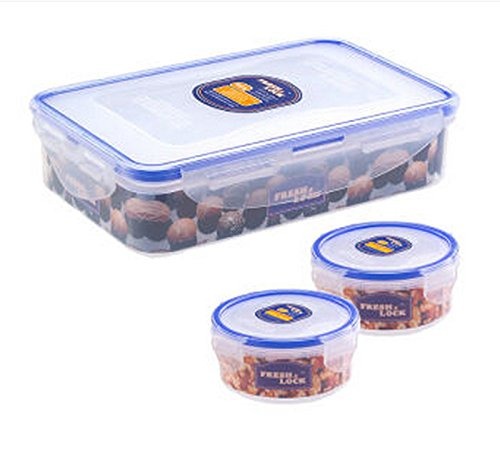 JAZS® Portable Conveniente plástico de almacenamiento Crisper piezas Tres piezas Crisper a prueba de humedad multiuso fe805b