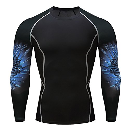 Fanii Quare Men's Quick-Dry Sports Tights Long Sleeve Compression Activewear T-Shirt Skull 1002 S