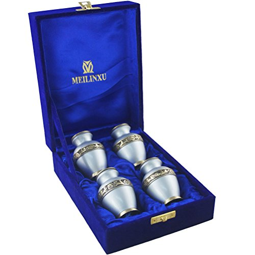 MEILINXU Keepsake Urns Set of 4-Cremation Urn by Brass Mini Funeral Urns for Human Ashes Adult-Fits a Small Amount of Cremated Remains-Display Burial Urn at Home or Office (Elsene Sky (Brass Keepsake Cremation Urn)