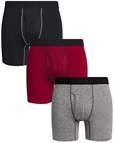 Reebok Mens 3 Pack Athletic Performance Boxer Briefs with Functional Fly (Large, Grey/Black/Red)'