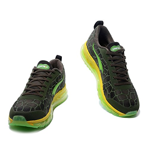 Mixte Sneakers Femme Jogging Onemix Adulte Respirante Air Homme Jaune Chaussures Darkgreen Fitness Sports xOpqRBYw