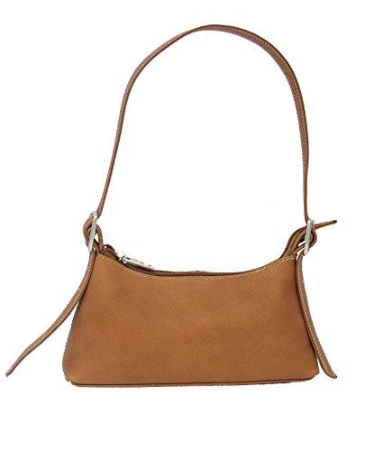 Piel Leather Small Shoulder Bag in Saddle