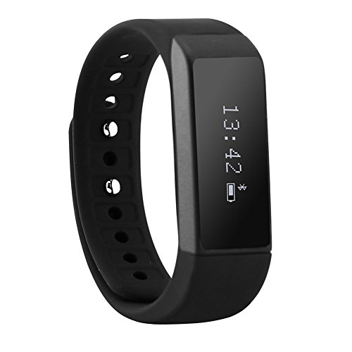 Iwown I5 Plus Smart Wristband Bluetooth 4.0 Smartband Touch Screen Fitness Tracker Health Wristband Sleep Monitor Smart Bracelet for Android IOS (Black)