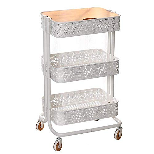 ZGYQGOO Movable Shelf Kitchen Storage Shelf Multi-Layer Storage Rack Wheeled Beauty Salon Trolley Suitable for Kitchen Bathroom Living Room, etc