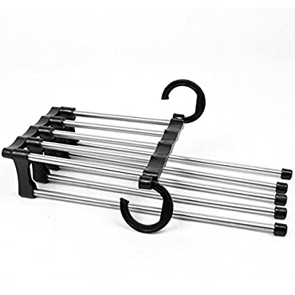Stainless Steel S-Shape Trousers Clothes Organizer Closet Space Saving for Pants Jeans Scarf Silver Slack Flurries Folding Pants Hangers