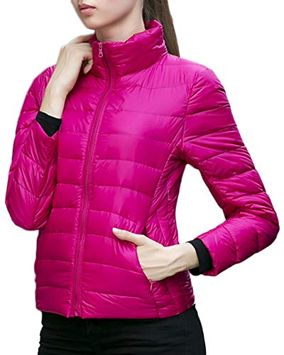 Down Parka Quilted Zip Puffer AnyuA Winter Coats Padded Rose Thick Women's Jackets Pockets YfcqR4