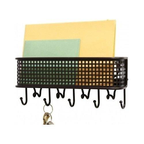 Generic NV_1008003208_YC-US2 fficeHoo Organizer Mount er Ho Wall Key Rack 9 Hooks Organ Mail Storage Mount Letter Holder Stor Hanger Office Wall Ke by Generic