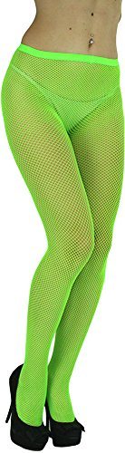 ToBeInStyle Women's Sexy Seamless Fishnet Full Footed Panty Hose Tights Hosiery - Neon Green - One Size -