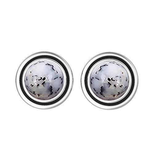 - Natural 7mm Round Shape Dendrite Opal Stud Earrings 925 Silver Plated Handmade Stud Earrings Jewelry For Women Girls