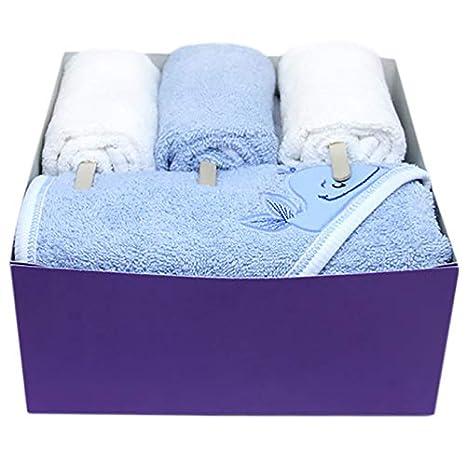 Handt/ücher Geschenk-Set Kapuzenbadetuch Handt/ücher 4-er Pack Premium Geschenk hochwertig handmade EU Geburt Baby Shower neugeborene Frottee Kleinkinder Poncho Badetuch Design Baumwolle blau