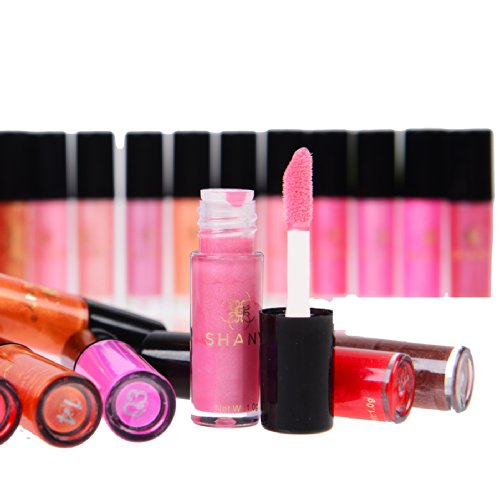 SHANY 24 Colors Bright Shimmer Long Lasting Sparkle and Shine Mini Lip Gloss Set, Twinkle