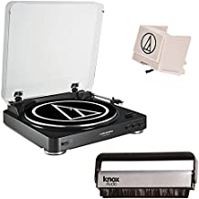 Audio Technica AT-LP60BK Turntable (Black) w/ Knox Vinyl Brush & Extra Stylus