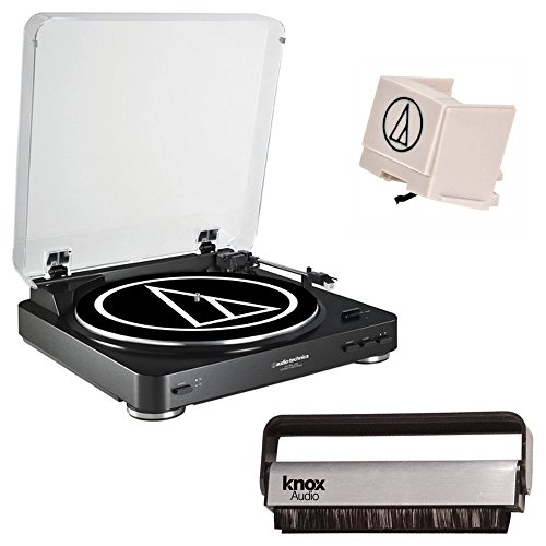 Audio Technica AT-LP60 Fully Automatic Belt Driven Turntable w/ Vinyl Brush Cleaner & Replacement Stylus