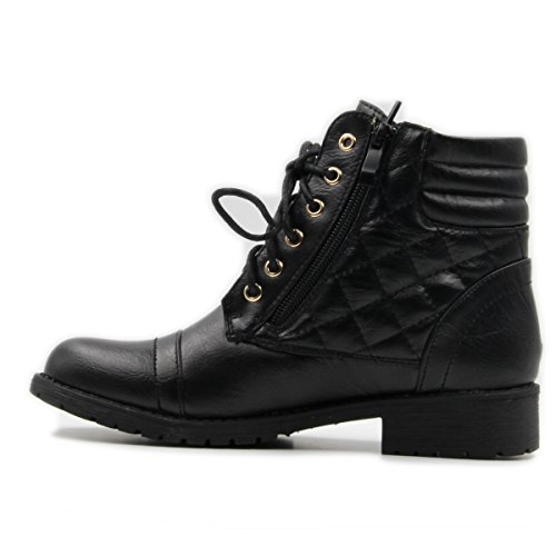 Women's Military Combat Boots Quilted Hiking Lace Up Buckle Ankle High With Side Zipper