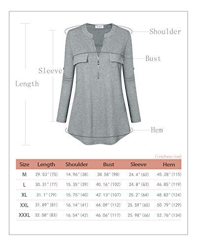 Bulotus Women's Plus Size Solid 3/4 Sleeve Zipper Top Casual Shirt,Green,XX-Large by Bulotus (Image #1)