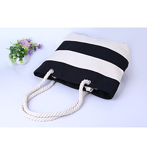 Shoulder Tote Stripe Holiday Black White Zipper Bag Canvas Purse and Stitching Flada Stylish Beach qXwppI