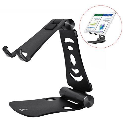 Cell Phone Stand Zeiger Tablet Stand Holder Portable Foldable Aluminum for iPad iPhone Tablets Macbook Laptops(Black)
