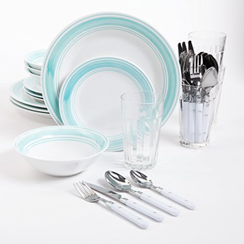 Gibson home 32 piece basic living mint dinnerware combo for Kitchen combo set 50 pcs