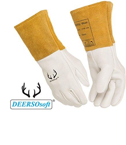 (12 PAIRS) Weldas DEERSOsoft Pearl Grain Deerskin, 4'' Cowhide Cuff - Welding MIG/TIG Gloves - Kevlar Sewn - Size L by Weldas (Image #5)