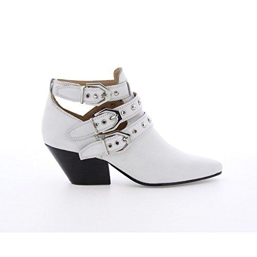 Bronx Ankle Boots Keaton 33990-A Leder Stiefelette Westernabsatz Weiß