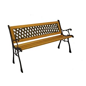 Basket Weave Iron & Wooden Park Bench w/ Resin Back Insert for Yard or Garden V2 Product SKU: PB20017