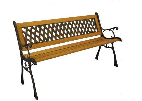 Basket Weave Iron & Wooden Park Bench w/ Resin Back Insert for Yard or Garden V2 Product SKU: PB20017