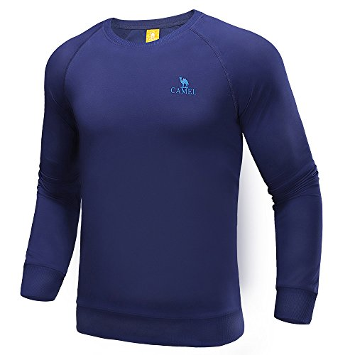 Camel Men Sport T-Shirt Pullover Long Sleeve Tees Thin and Breathable Outdoor Crew Neck T Shirt Navy XXL