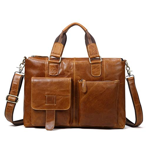 Portátil Chocolate La Olprkgdg Bolso Macbook De Crossbody Hombre Oficina Cuero Del Brown Computadora Cartera color OqUBUSZ